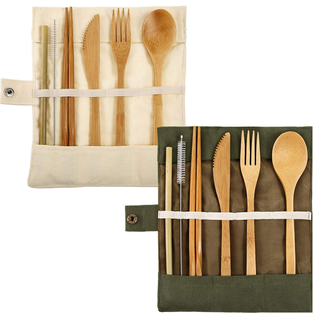 Reusable Cooking Bamboo Utensils Travel cutlery <strong>set</strong> includes Reusable spoon,fork,knife,bamboo toothbrush