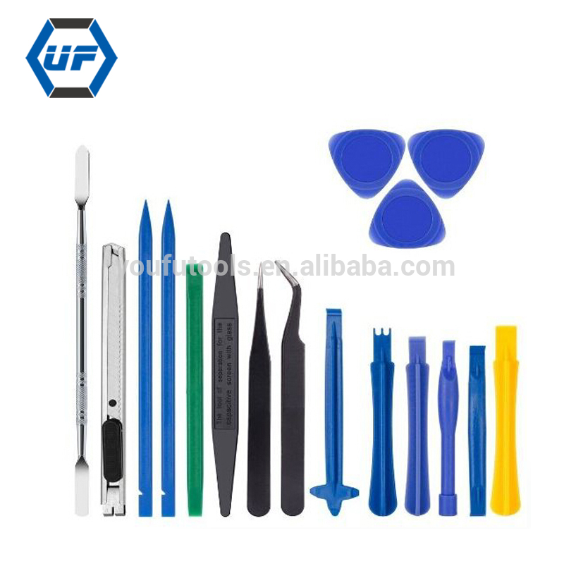 new kaisi 18 in 1 Professional Opening Pry Tool Repair <strong>Kit</strong> with Non-Abrasive Nylon Spudgers and Pack of 8 Anti-Static Tweezers