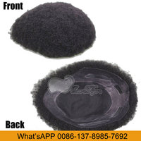 Eseewigs Real Human Hair Afro Toupee Afro Curl Toupee For Black Men 9.5X7.5
