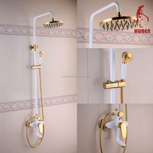 luxury bathroom design white painting Bathroom Rain Shower with Gold and Ceramic shower hand
