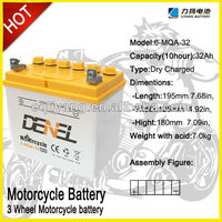 12v batteri mowers battery Dry charged with acid pack
