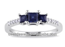 Top Design 10k White Gold Sapphire and Diamond 3-Stone Engagement Ring