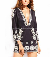 MIKA5081 Hot Sale Long Sleeve Vintage Print Dress