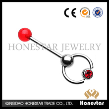 New styles red crystal tongue ring barbell acrylic tongue piercing rings body jewelry