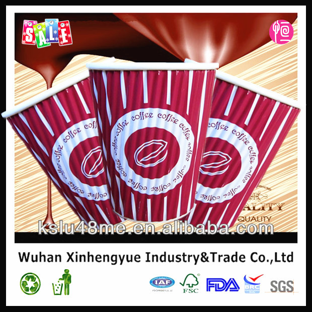 Hot Sale Insulated 8oz Ripple Wall Paper Cups with Lid