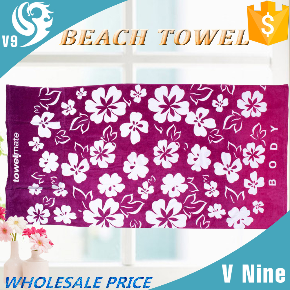 100% cotton velour reactive custom printed enjoy beach towel holiday