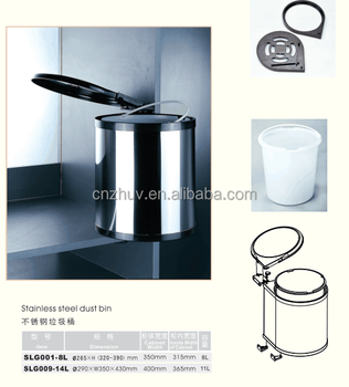 kitchen cabinet stainless steel trash bin for convenience