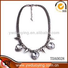 Duoying Fashion Jewelry Necklace New Design Spike Necklace For Men 2013 With Heart Shaped Rhinestone Wholesale