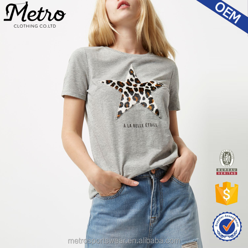 Women Grey Short Sleeve Leopard Star Print Blouses and Tops