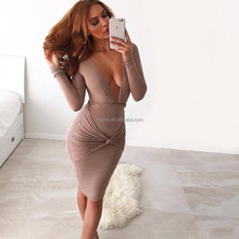 Long sleeve frock fashionable women normal open breast party dress fabric