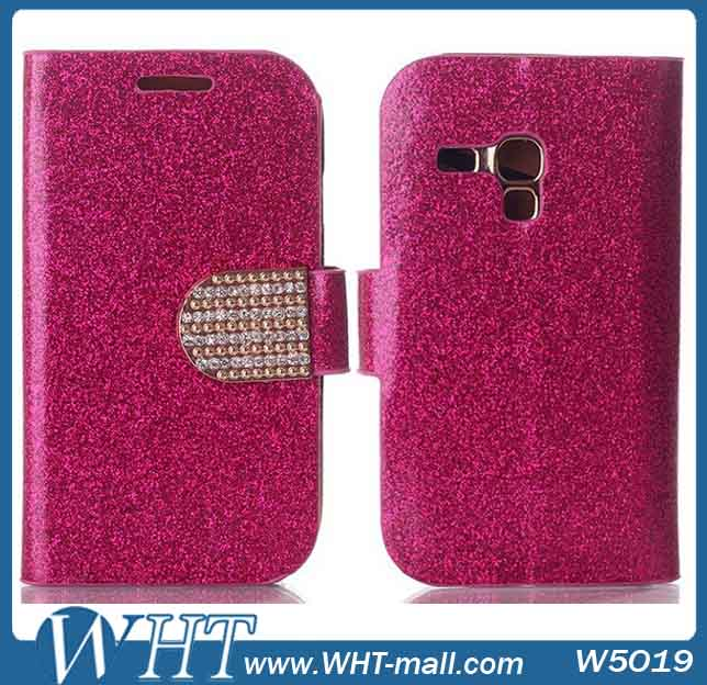 For Samsung Galaxy S3 Mini Flip Leather Case,Diamond Pouch Cover