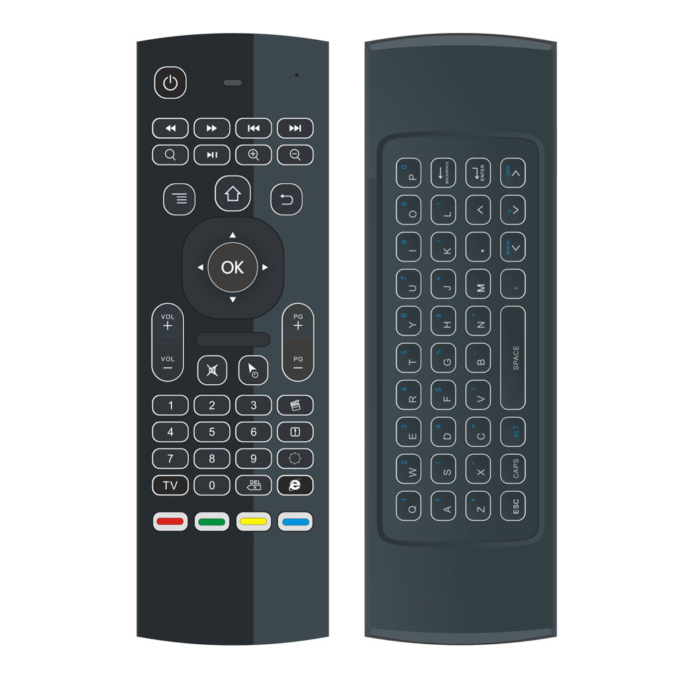 Two side 2.4G wireless controller 3 gyro 3 gsensor backlight keyboard For Mini PC MX3 Remote Control