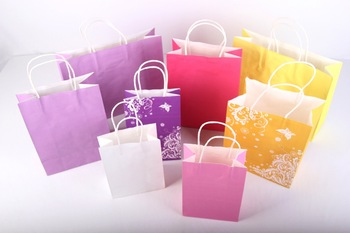 white kraft paper bags, Recyclable Paper Bag, take out bag, Professional kraft paper bag printing