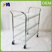 High quality adjustable mobile 3-tier wire mesh mobile carts with fou-wheel
