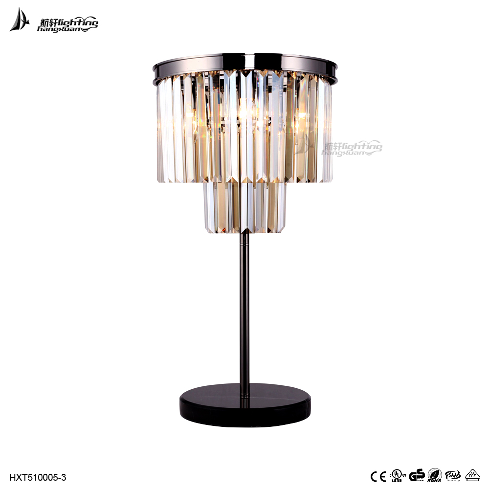New design cognac k9 crystal table light for hotel