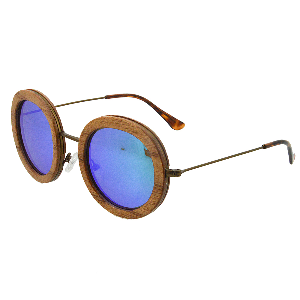 Retro Round Style Sunglasses Blue Lens Mirrored Spring Bud Wood Sunglasses Multi-layer wood Sunglasses