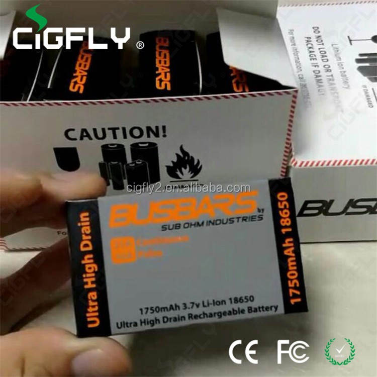 Best quality Busbars 18650 battery 1750mah vape thailand hot selling