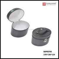black leather empty round cosmetic case