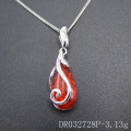 New Developments Celtic Design 925 Sterling Resin Amber Silver Pendant DR032728P