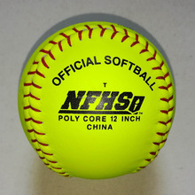 custom made 12inch split leather&Poly Core Fastpitch Game Softball