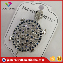 Fashion Jewelry Mini Tortoise Crystal Brooches With Silver Base