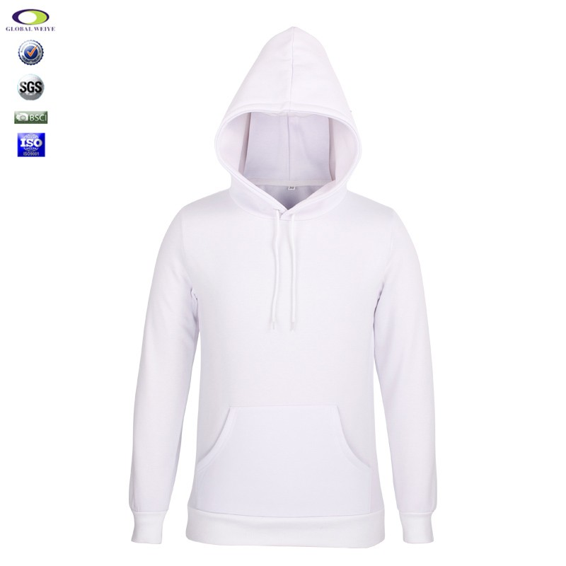 100 cotton screen print men white blank pullover hoodie