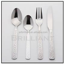 BRILLIANT BC3045 Embossed Stainless steel spoon/knife and fork sets/ Gold plated or sand blasting embossing steel cutlery set