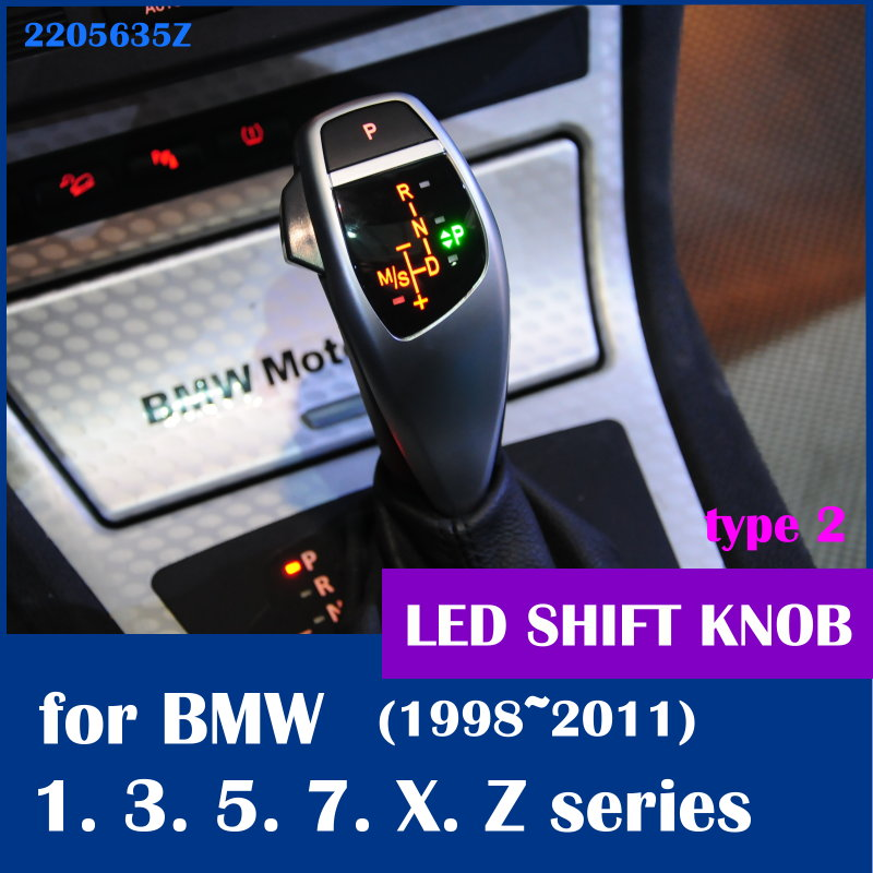 Free shipping LED shift knob gear selector lever handle for BMW E38 E39 E60 E46 E90 E92 E82 E87 E84 E83 E53 E85 E89 1998 2011