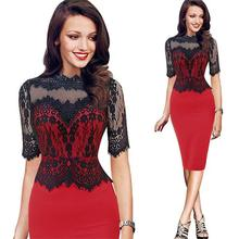 Women clothing modern factory price formal knee length lace frocks half sleeve midi bodycon ladies office wear