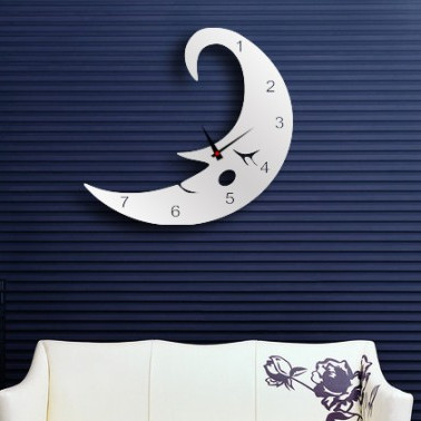 MC001 Moon Shape Decorative Mirror Wall Clocks for Home Decor