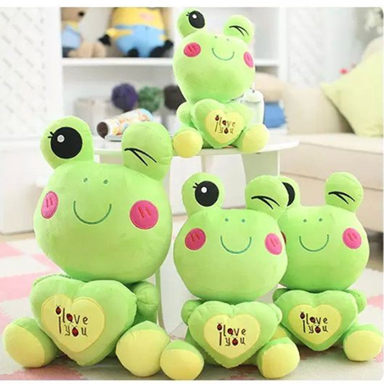 2017 cute hold the heart soft funny frog stuffed animals