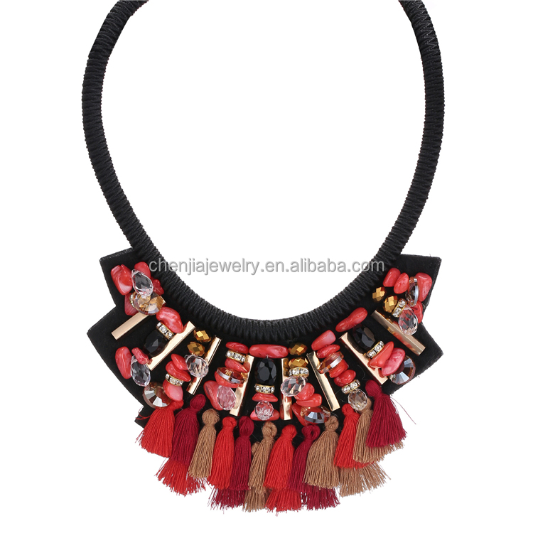 Statement Beads Standing Fringe Tassel Turquoise Crystal Chip Necklaces Costume Jewelry Spain