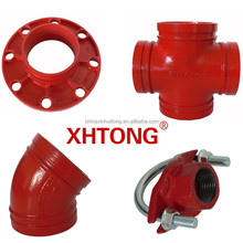 UL FM CERTIFIED Ductile Iron Grooved Fittings of Equal Cross/Flange Adaptor/45 degree Elbow/U-bolt Mechanical Tee