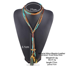 Maxi colar Facet Beads Necklaces For Women Multi layer Long Necklace Statement Jewelry