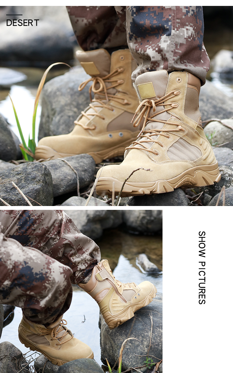 Spring Season And High-elastic Military Boots With Padded Collar Color Optional Jungle Boots