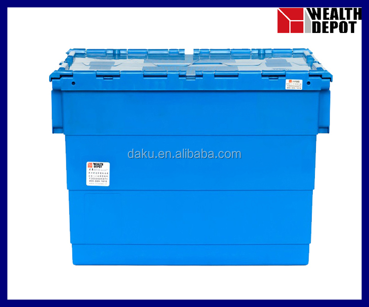 Plastic Storage Turnover Box with Attached Lids for Material Handling