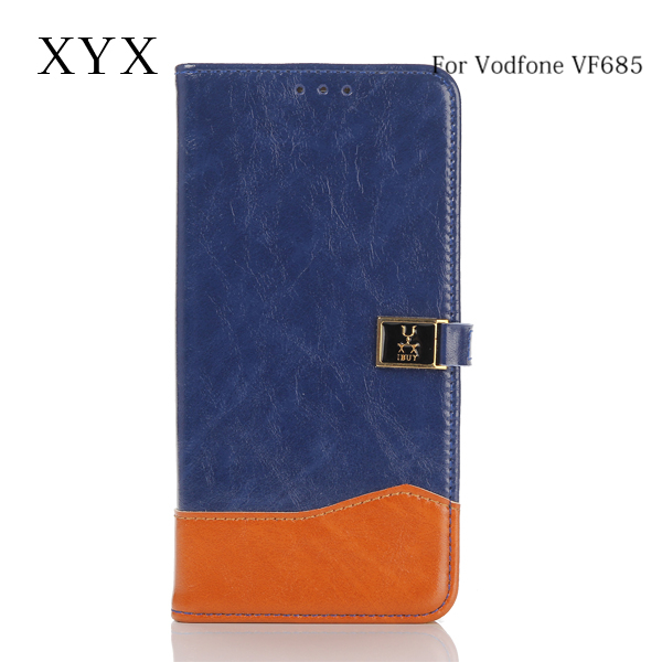 Elegant and exquisite metal logo design for vodafone 685 leather case, case cover for vodafone smart prime 6