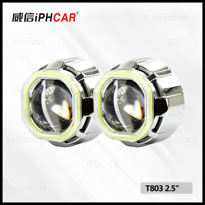 Guangzhou Factory auto light Bi-xenon Hid Projector Lens light with COB angel eyes Headlight Retrofit DIY Use