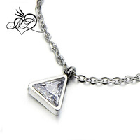 Tiny Sparkling Triangle Cubic Zirconia Pendant Stainless Steel Necklace Clavicle Chain 18 Inches