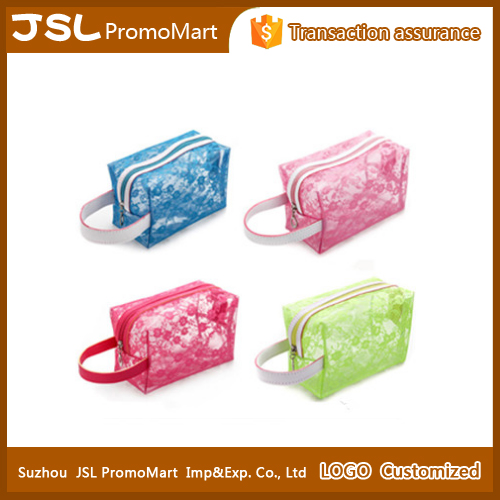 Portable floral waterproof cosmetic pvc transparent toiletry travel pouch