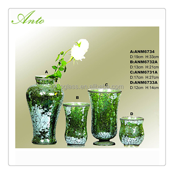 Green Color Mosaic Glass Vases Lantern Candle Holder Sets For Wedding Centerpiece Decoration