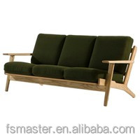 Replica comfortable Danish Design solid ash wood Hans J Wegner 3 seater plank chair sofa with fabric cushion