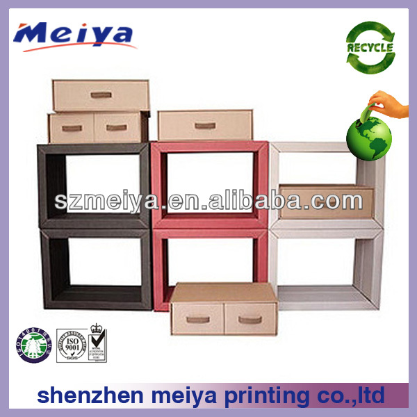 New arrival muti-shelf case for wrist watches and CD play/cardboard bookcase with drawers/makeup case with drawers