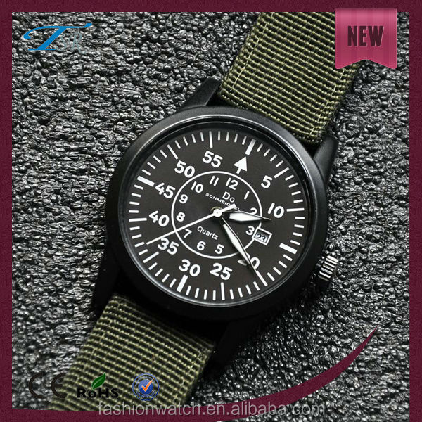 New arrival watches nylon bands strap vogue men military wristwatch custom free logo watches stainless steel back case watch
