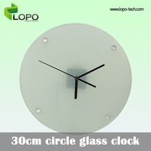 Good-selling 30cm round shape glass clock for sublimation