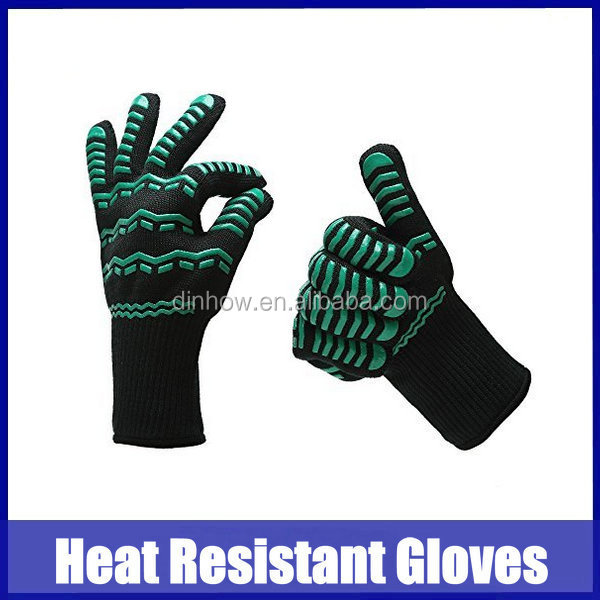 Smoker and Kitchen Accessories Heat Resistant aramid & Silicone Insulated Protection BBQ Grilling Cooking Gloves