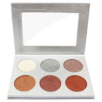Private Label Factory Supply Wholesale 6 Color Makeup Eyeshadow Highlighter Face Powder Palette