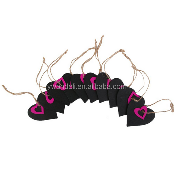 Handmade Mini Heart Shaped Hanging Wooden Blackboard Gift Price Tags Decor