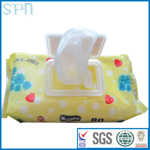 Wholesale 80pcs OEM high quality flushable baby wipes