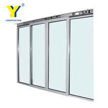Used Commercial Frame Automatic sensor glass aluminium double glazed sliding doors with high quality
